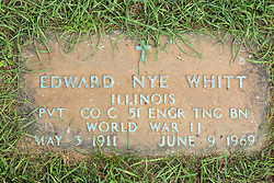 31 August 2017:   Veterans graves in Park Hill Cemetery in eastern McLean County.<br /> <br /> Edward Nye Whitt  Illinois  Private Co C 51 Engr Tng BN  World War II  May 3 1911  June 9 1969