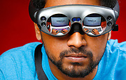 UIC College of Engineering MIE PhD student Melchizedek Caleb wearing Magic Leap One AR goggles in Chicago.