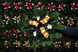 Christmas wreaths for sale at the Smiddy Farm Shop near Doune, Stirling.