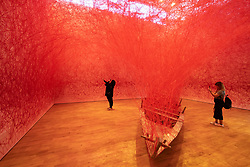 Art installation , Departure, by Chiharu Shiota at Jameel Arts Centre in Dubai, UAE, United Arab Emirates