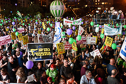 May 27, 2017 - Tel Aviv, Israel - Thousands of Israeli Left wing activists particiapted a rally in Rabin Square, Tel-Aviv, calling for talks with Palestinians and in support of the two states solution on May 27'th, 2017. (Credit Image: © Gili Yaari/NurPhoto via ZUMA Press)