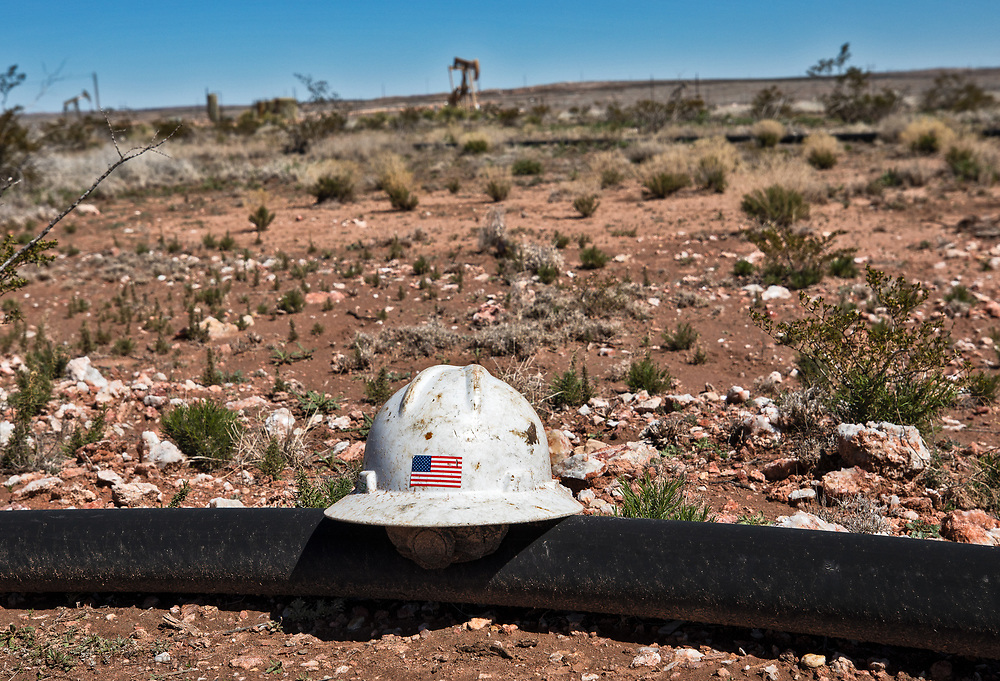 Worker's hat left behind in Eddy County, New Mexico, in the Permian Basin.