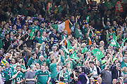 Jubilant Irish supporters during the Rugby World Cup Pool D match between France and Ireland at Millenium Stadium, Cardiff, Wales on 11 October 2015. Photo by Shane Healey.