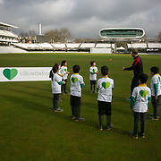 Schoolchildren from All Souls Primary School in London join MP James Heappey and Marylebone Cricket Club (MCC) Chief Executive Derek Brewer at Lord's to launch The Climate Coalition's #ShowtheLove campaign. The annual celebration of all that we love but could lose to climate change, from cricket pitches to woodlands, and the progress we are making towards a clean and secure future. The campaign encourages people to wear and share green hearts to demonstrate their support this Valentine's Day.