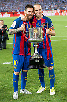 FC Barcelona's forward Leo Messi and midfielder Andres Iniesta during Copa del Rey (King's Cup) Final between Deportivo Alaves and FC Barcelona at Vicente Calderon Stadium in Madrid, May 27, 2017. Spain.<br /> (ALTERPHOTOS/BorjaB.Hojas)