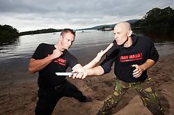 Krav Island, Sunday session on Inchcailloch Island on Loch Lomond, near Balmaha. Krav Island is the IKMS annual event of two days intense Krav Maga training in and around Loch Lomond.