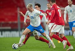 Albert Guðmundsson (Island) under kampen i Nations League mellem Danmark og Island den 15. november 2020 i Parken, København (Foto: Claus Birch).