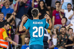 August 13, 2017 - Barcelona, Catalonia, Spain - Real Madrid midfielder ASENSIO celebrates his goal during the Spanish Super Cup Final 1st leg between FC Barcelona and Real Madrid at the Camp Nou stadium in Barcelona (Credit Image: © Matthias Oesterle via ZUMA Wire)