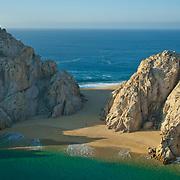 Aerial view of Lovers Beach in Cabo San Lucas. Baja California Sur, Mexico.