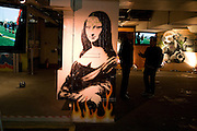 Graffiti BY BANKSY , The launch of Your Game 2008. Swiss Ambassador's Residence car park. Bryanston Sq. London. W1. 28 February 2008.  *** Local Caption *** -DO NOT ARCHIVE-© Copyright Photograph by Dafydd Jones. 248 Clapham Rd. London SW9 0PZ. Tel 0207 820 0771. www.dafjones.com.