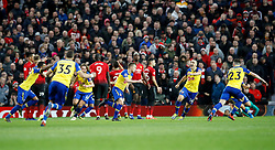 Southampton's James Ward-Prowse (centre) celebrates scoring his side's second goal of the game during the Premier League match at Old Trafford, Manchester.