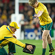 James O' Connor, Australia, practices his kicking before the New Zealand V Australia Semi Final match at the IRB Rugby World Cup tournament, Eden Park, Auckland, New Zealand, 16th October 2011. Photo Tim Clayton...