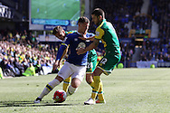Ross Barkley of Everton is sandwiched between Gary O'Neil and Robbie Brady of Norwich City. Barclays Premier League match, Everton v Norwich City at Goodison Park in Liverpool on Sunday 15th May 2016.<br /> pic by Chris Stading, Andrew Orchard sports photography.
