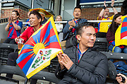Tibetan fans during the London Turkish All-Stars Vs Tibet during the Conifa Paddy Power World Football Cup Placement Match A on the 5th June 2018 at Bromley in the United Kingdom. London Turkish All-Stars 4 Tibet 0. were due to play Ellan Vannin, although Ellan Vannin were withdrawn by CONIFA. Ellan Vannin's withdrawal comes following a vote of the tournament management committee on Monday 4 June, which rejected a challenge by Ellan Vannin to the eligibility of a Barawa player. The CONIFA World Football Cup is an international football tournament organised by CONIFA, an umbrella association for states, minorities, stateless peoples and regions unaffiliated with FIFA.