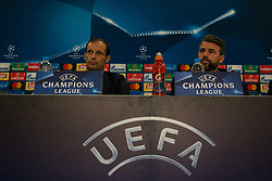 December 4, 2017 - Piraeus, Greece - Massimiliano Allegri and Andrea Barzagli attends a Juventus F.C press conference on the eve of their UEFA Champions League group D match against Olympiakos Piraeus at Karaiskaki Stadium  in Athens, Greece. (Credit Image: © Dimitris Lampropoulos/NurPhoto via ZUMA Press)