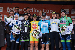 All the celebrated riders line up for the cameras - 2016 Omloop van het Hageland - Tielt-Winge, a 129km road race starting and finishing in Tielt-Winge, on February 28, 2016 in Vlaams-Brabant, Belgium.