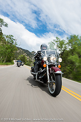Clyde Brewer of Windsor, CO on his 2006 Road King riding from Thunder Mountain Harley-Davidson in Loveland, Colorado to the Rocky Mountain HOG Rally in Steamboat Springs. USA. Wednesday June 7, 2017. Photography ©2017 Michael Lichter.