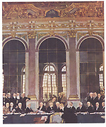 World War I: Signing Treaty of Versailles in the Hall of Mirrors, 28 June 1919. After the painting by William Orpen (1878-1931).