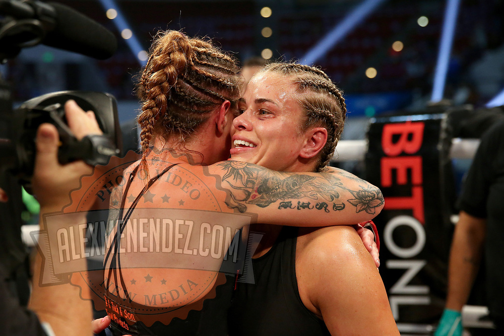 TAMPA, FL - FEBRUARY 06: Britain Hart hugs Paige Van Zant after winning the BKFC KnuckleMania event at RP Funding Center on February 6, 2021 in Tampa, Florida. (Photo by Alex Menendez/Getty Images) *** Local Caption *** Paige Van Zant; Britain Hart
