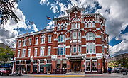 Historic 1887 Strater Hotel, in Durango, Colorado, USA. This image was stitched from multiple overlapping photos.