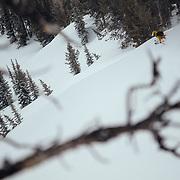 Tanner Flanagan skiing powder in the Teton backcountry off of Jackson Hole Mountain Resort.