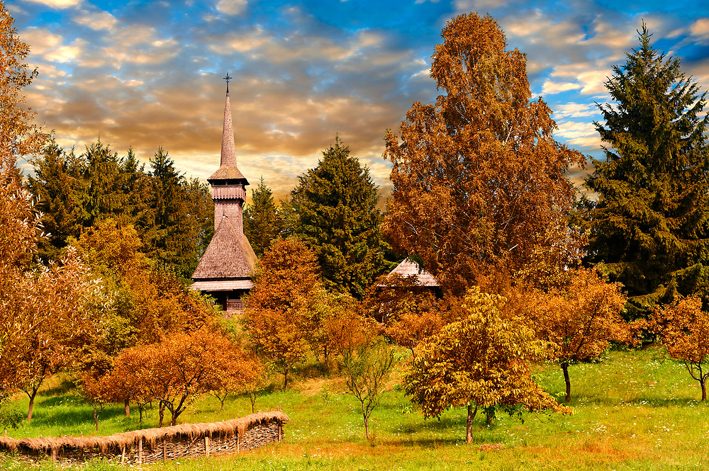 Wooden church on Dobaies in autumn. The Village museum near Sighlet, Maramures, Northern Transylvania .<br /> <br /> Visit our ROMANIA HISTORIC PLACXES PHOTO COLLECTIONS for more photos to download or buy as wall art prints https://funkystock.photoshelter.com/gallery-collection/Pictures-Images-of-Romania-Photos-of-Romanian-Historic-Landmark-Sites/C00001TITiQwAdS8
