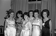 28/04/1965<br /> 04/28/1965<br /> 28 April 1965<br /> Festival of Kerry Dublin Ball at the Gresham Hotel, Dublin. Photo shows the six finalists (l-r): Mary O'Donnell (Tipperary); Jacqueline Purcell, (Caherciveen); Mary Breen (Wexford); Geraldine O'Donnell, (Clondalkin, Dublin); Irene Courtney, Omagh, Co. Tyrone and Anne Walsh, (Dublin).