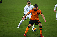 Rafa Mir of Wolverhampton Wanderers in action. The Emirates FA Cup, 3rd round replay match, Swansea city v Wolverhampton Wanderers at the Liberty Stadium in Swansea, South Wales on Wednesday 17th January 2018.<br /> pic by  Andrew Orchard, Andrew Orchard sports photography.