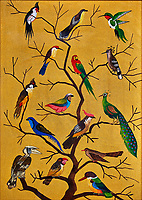Birds on a tree. Sand painting from Burma. Image taken with a Fuji X-T1 camera and 16-55 mm f2.8 lens (ISO 200, 55 mm, f/2.8, 1/13 sec)