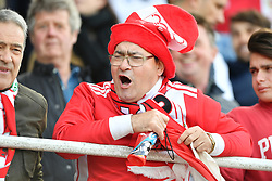 A fan in the stands reacts during the UEFA Euro 2020 Qualifying, Group D match at the Victoria Stadium, Gibraltar.