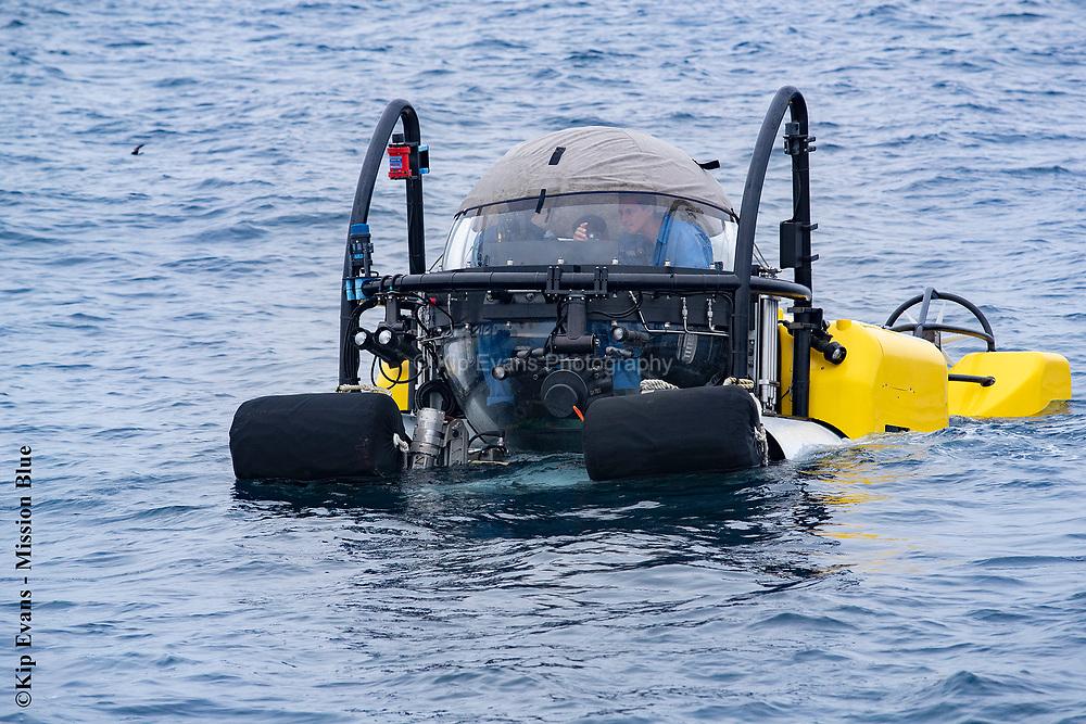 Seth Casden inside the DeepSee Submersible at Darwin Island, Galapagos National Park.
