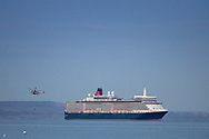 Cunard's Queen Elizabeth at anchor in Weymouth Bay. The cruise industry has suffered a complete shutdown during the covid-19 pandemic and many vessels are currently waiting at various anchorages around the coast of Great Britain and the world.<br /> Picture date Tuesday 1st September, 2020.<br /> Picture by Christopher Ison. Contact +447544 044177 chris@christopherison.com