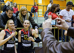 Mihela Planinsec of Nova KBM Branik and Sasa Planinsec of Nova KBM Branik celebrate after winning during volleyball match between Nova KBM Branik Maribor and OK Luka Koper in Final of Women Slovenian Cup 2014/15, on January 18, 2015 in Sempeter v Savinjski dolini, Slovenia. Photo by Vid Ponikvar / Sportida