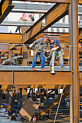 Ironworkers at work on the building at 300 East Randolph St., Chicago, Illinois, where ironworker Jeff Devine works. (Jeff Devine is featured in the book What I Eat: Around the World in 80 Diets.)