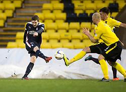 Falkirk's Blair Alston has a shot.<br /> Half time : Livingston 0 v 1 Falkirk, Scottish Championship played13/12/2014 at The Energy Assets Arena.