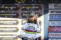 March 10, 2017 - Montalto Di Castro, ITALY - Slovakian Peter Sagan of Bora-Hansgrohe celebrates on the podium after winning the third stage of the 51st edition of the Tirreno-Adriatico cycling race,204 km from Monterotondo Marittimo to Montalto di Castro, Italy, Friday 10 March 2017. ..BELGA PHOTO YUZURU SUNADA (Credit Image: © Yuzuru Sunada/Belga via ZUMA Press)