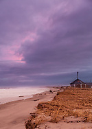 Storm ravaged Nauset Beach. Days after this image, the bandstand was successfully moved to higher ground.