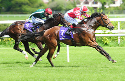 Zihba ridden by Chris Hayes (right) wins the Amethyst Stakes during Derrinstown Stud Derby Trial Day at Leopardstown Racecourse, Dublin.