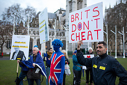 © Licensed to London News Pictures. 29/03/2018. London, UK. 'Rally for a Fair Vote' host a demonstration on Parliament Square, calling for evidence of cheating on either sides of the Brexit referendum to be brought forward. Cambridge Analytica is being investigated due to accusations of the misuse of Facebook user data to influence electoral outcomes. Photo credit : Tom Nicholson/LNP