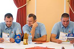 Head coach Rado Trifunovic, Domen Zerak and Predrag Radovic during press conference of basketball team KK Helios Domzale before new season 2010-2011, on September 27, 2010 in Domzale, Slovenia. (Photo By Vid Ponikvar / Sportida.com)