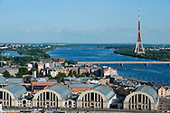 Riga, view over the Central Market (former Zeppelin hangars) from St Peter's Church spire, Latvia © Rudolf Abraham