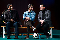 "Donato, Rafael Alkorta and Pedja Mijatovic during the presentation of the new tv program #0 of Movistar+ ""Caos FC"" at Ciudad del Futbol of Las Rozas in Madrid. November 21, Spain. 2016. (ALTERPHOTOS/BorjaB.Hojas)"