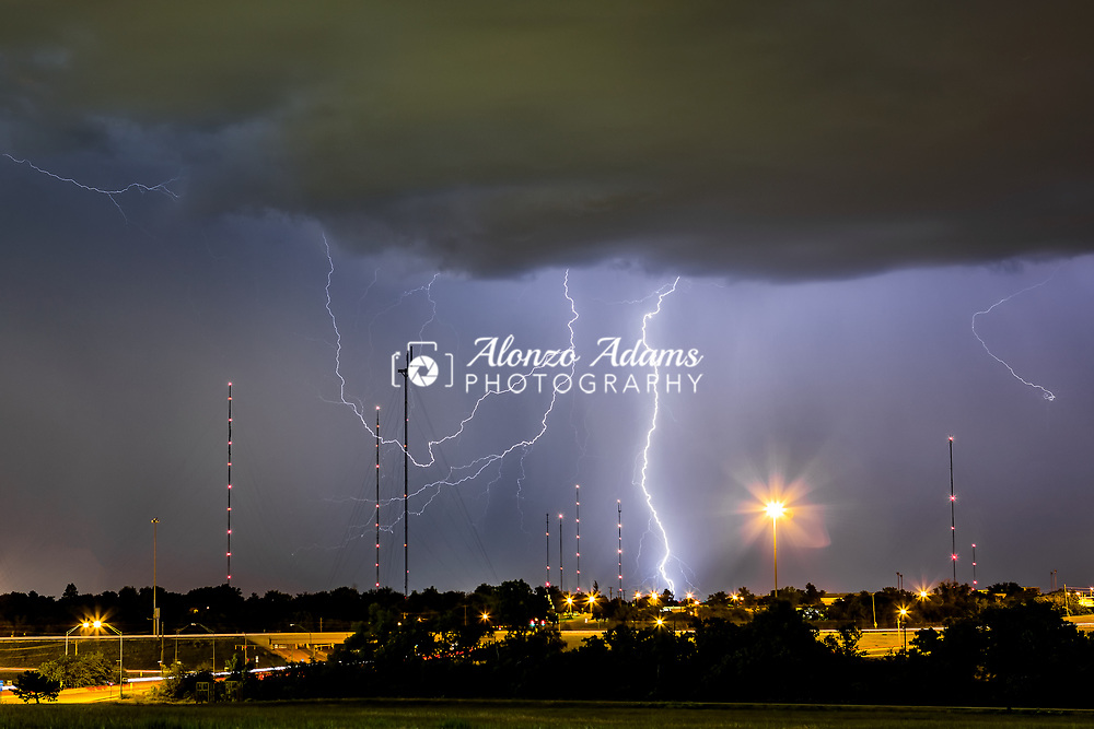 Lightning on June 8, 2013 in Oklahoma City. Photo copyright © 2013 Alonzo J. Adams