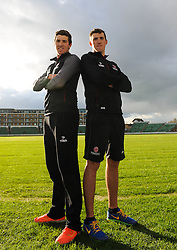 Somerset's Jamie and Craig Overton pose for a picture.  - Mandatory byline: Alex Davidson/JMP - 11/02/2016 - CRICKET - The Cooper Associates County Ground -Taunton,England - Somerset CCC  Media access - Pre-Season