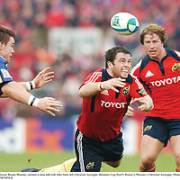 18 November 2007; Marcus Horan, Munster, contests a loose ball with John Smit, left, Clermont Auvergne. Heineken Cup, Pool 5, Round 2, Munster v Clermont Auvergne, Thomond Park, Limerick. Picture credit; Brendan Moran / SPORTSFILE *** Local Caption ***
