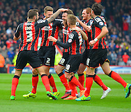 Bournemouth celebrate AFC Bournemouth's Brett Pitman's hatrick during the Sky Bet Championship match between Bournemouth and Blackpool at the Goldsands Stadium, Bournemouth, England on 14 March 2015. Photo by Mark Davies.
