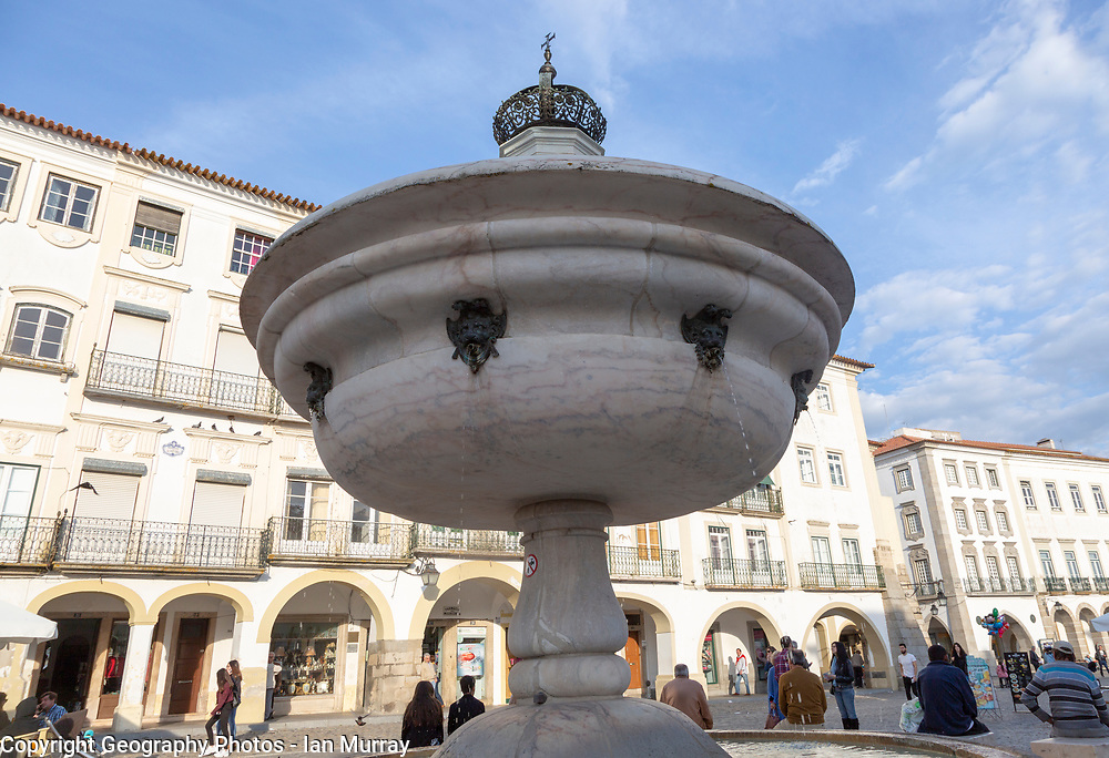 Close-up of fountain in famous city centre square, Giraldo Square, Praça do Giraldo, Evora, Alto Alentejo, Portugal, southern Europe