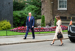 Donald Trump, US President and First Lady Melania Trump arrive in Downing Street as part of their State visit. Theresa May, Prime Minister and Mr May greet them on the doorstep of No.10 Downing Street, London, Great Britain <br /> 4th June 2019 <br /> <br /> Donald Trump<br /> Melania Trump <br /> Ivanka Trump<br /> Theresa May <br /> Philip May <br /> <br /> Photograph by Elliott Franks
