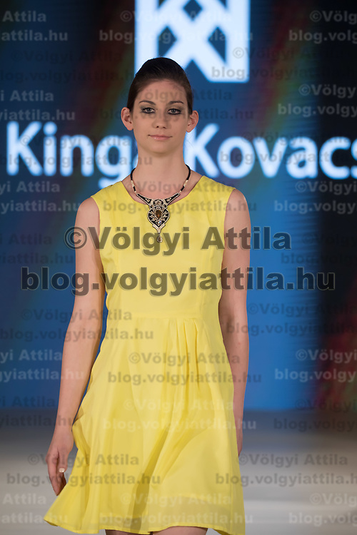 Model presents creation by designer Kinga Kovacs of Hungary during the Budapest Fashion Week held in Budapest, Hungary on April 22, 2018. ATTILA VOLGYI