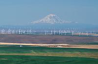 Wind Turbines on Columbia Pateau near Wasco Oregon. Mount Adams is in the distance